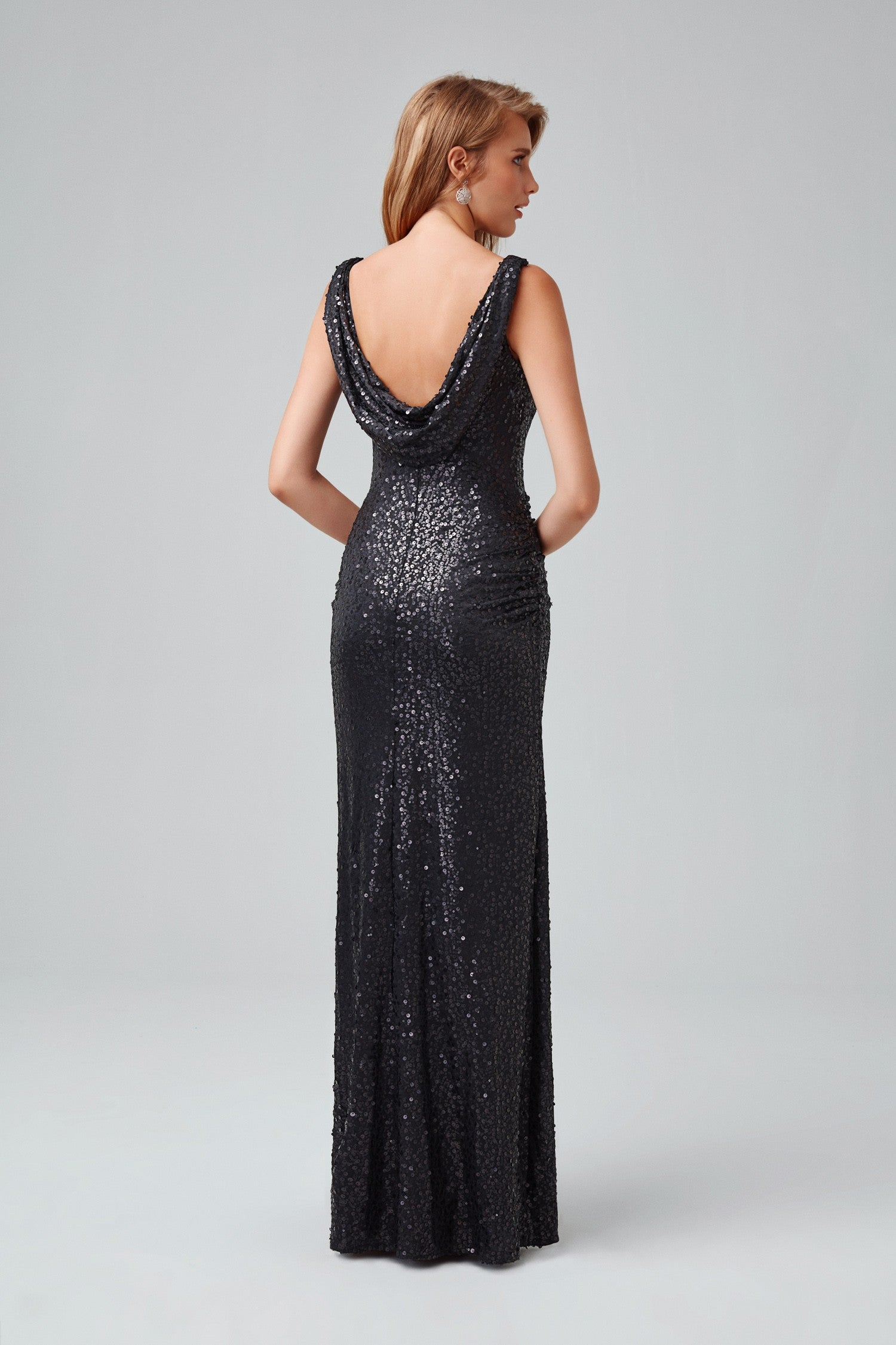 Long Sequin Tank Dress With Cowl Back F19400