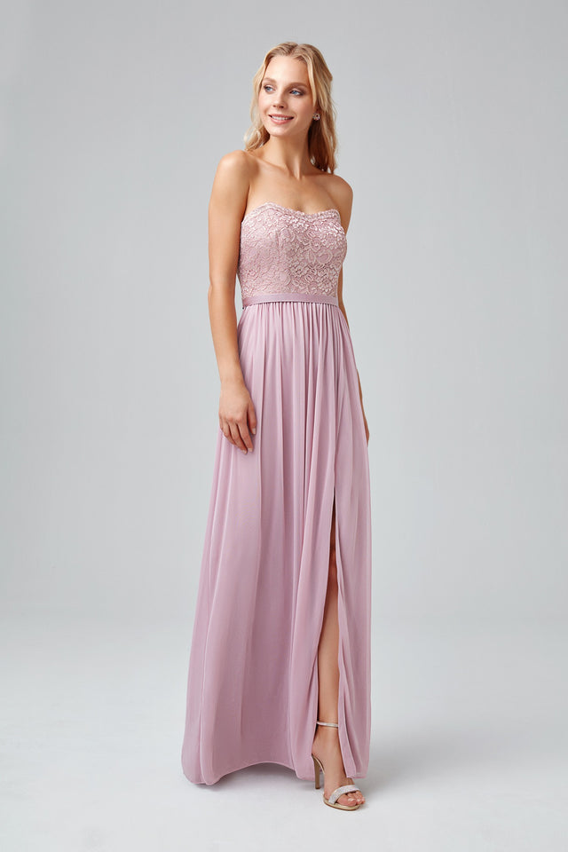 Metallic Lace and Mesh Long Strapless Dress