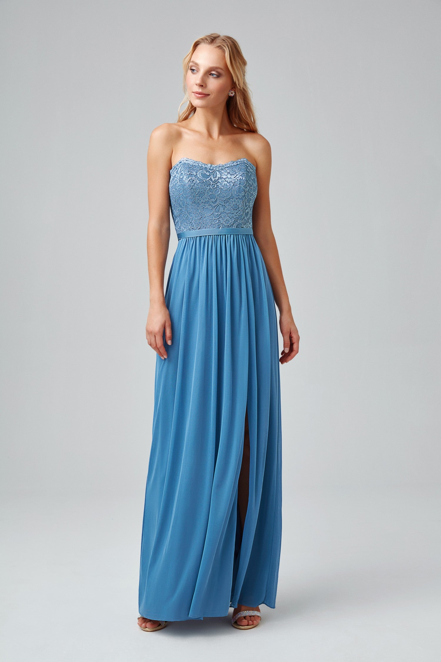 Metallic Lace and Mesh Long Strapless Dress-F18095M