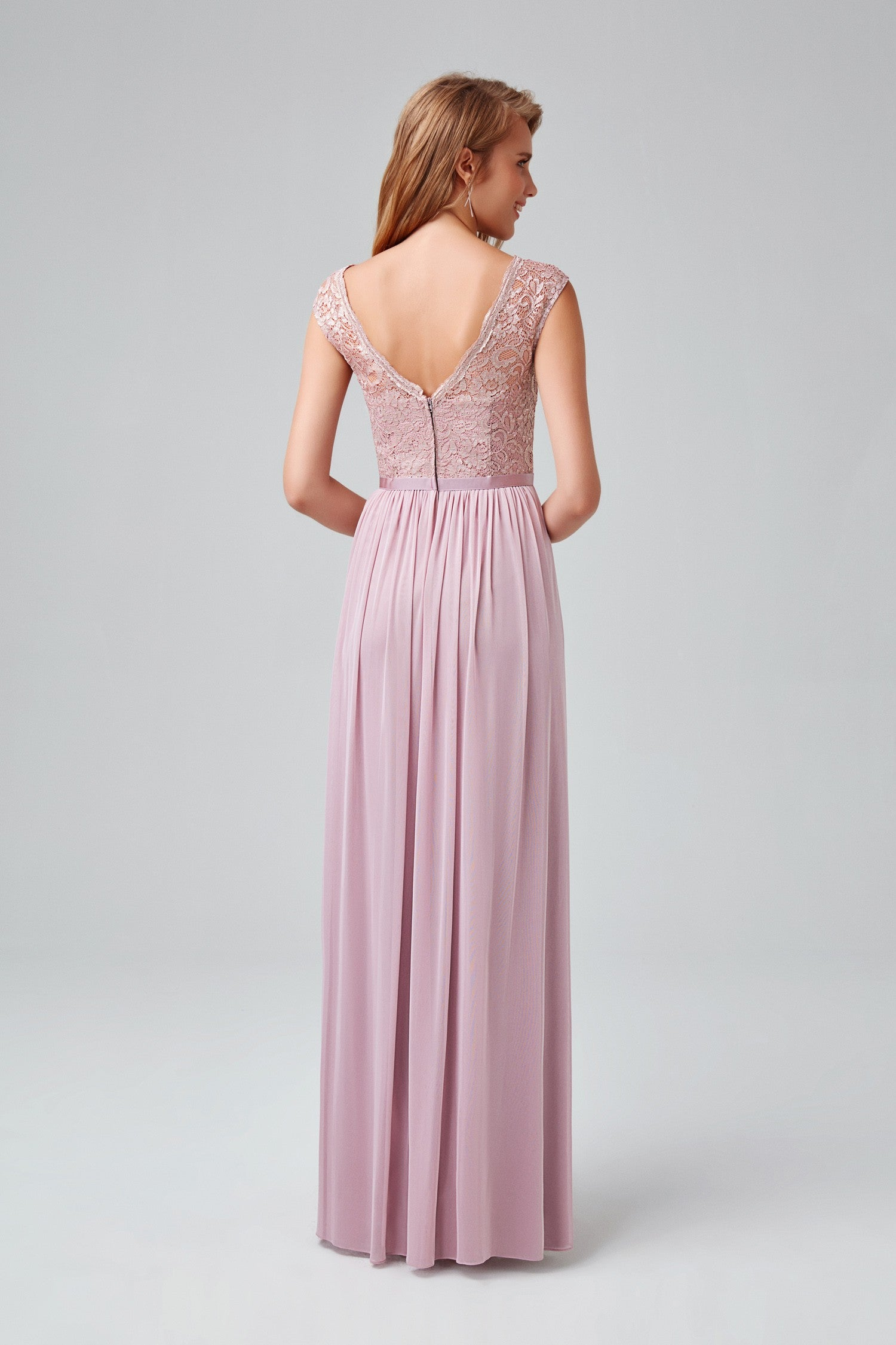 Long Bridesmaid Dress With Lace Bodice F19328m