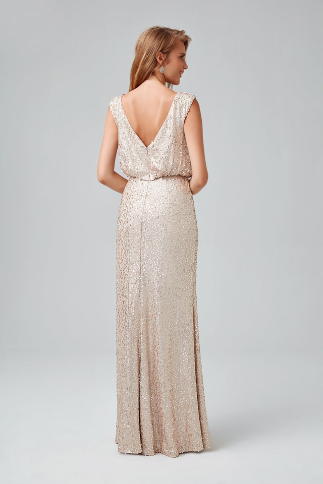Long Sequin Blouson Dress
