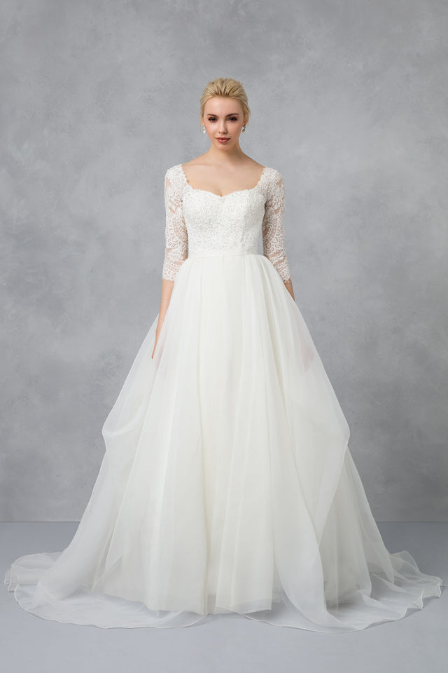 Petite Oleg Cassini Beaded Lace Wedding Dress