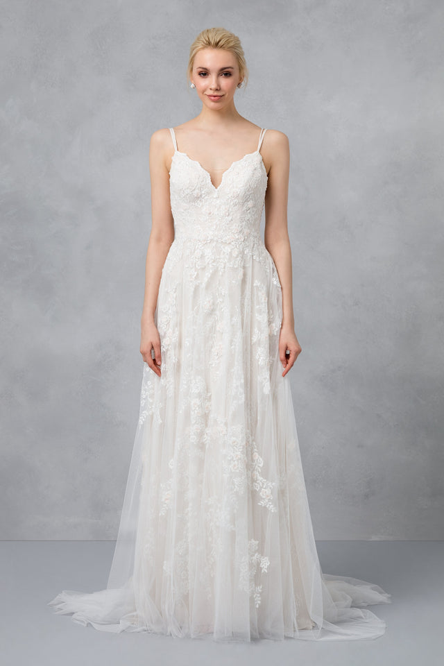 Petite Scalloped Wedding Dress with Double Straps