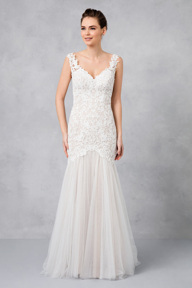Petite Beaded Venice Scalloped Lace Wedding Dress