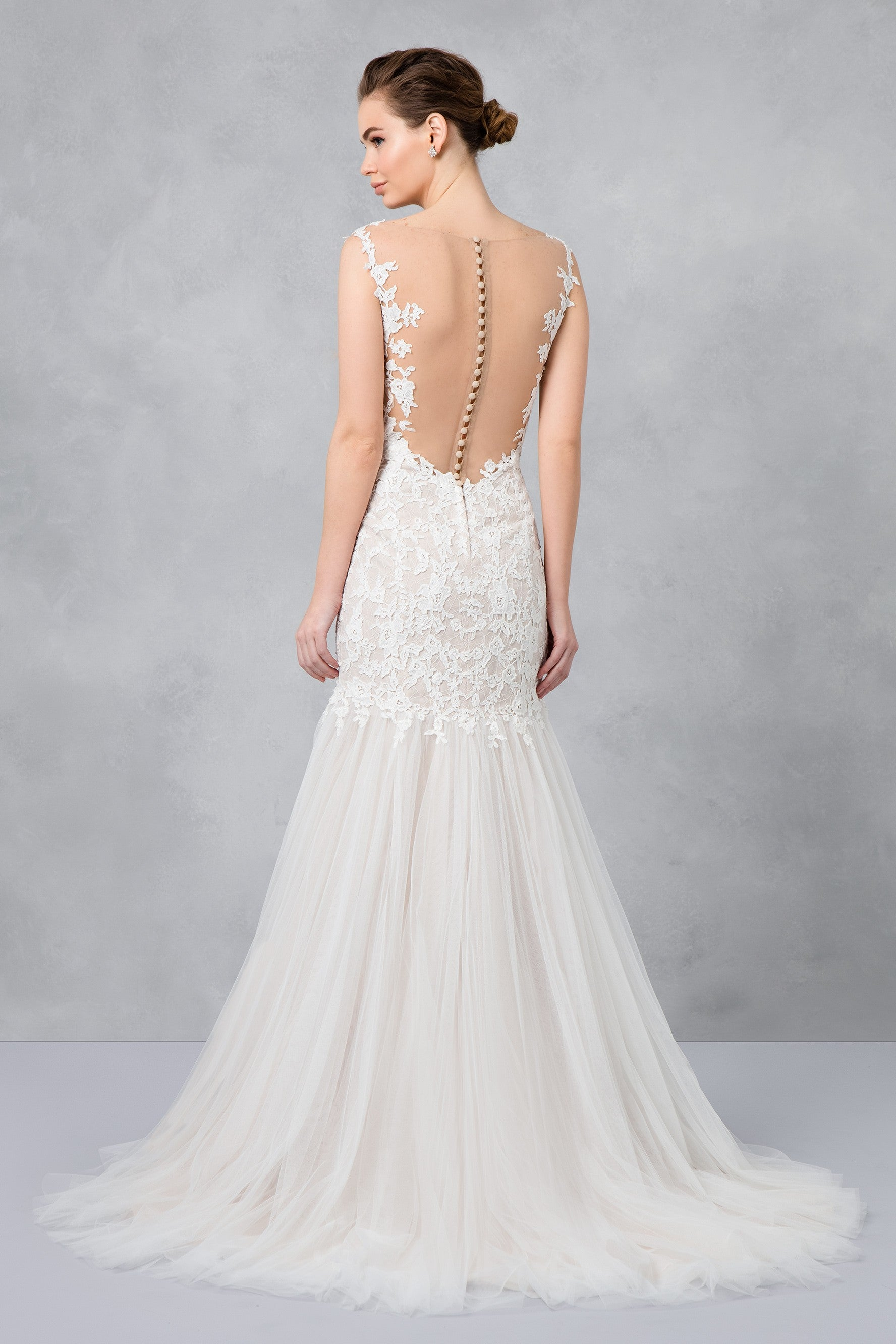Petite Beaded Venice Scalloped Lace Wedding Dress 7swg723