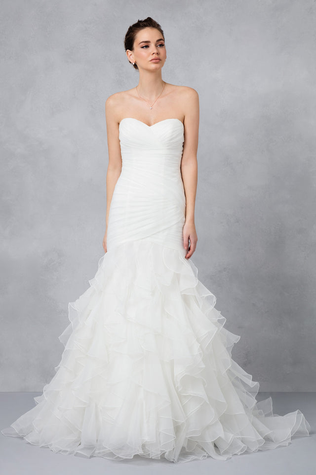 Petite Mermaid Wedding Dress with Ruffled Skirt