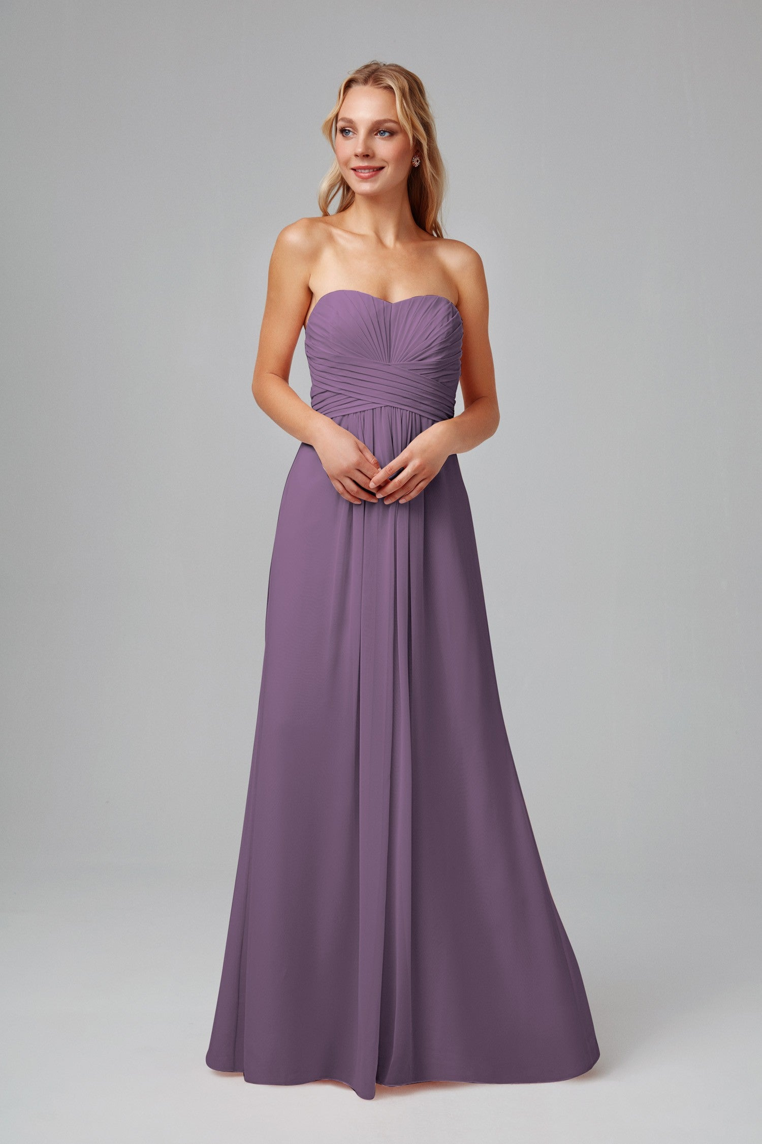 Long Strapless Chiffon Dress with Pleated Bodice-F15555