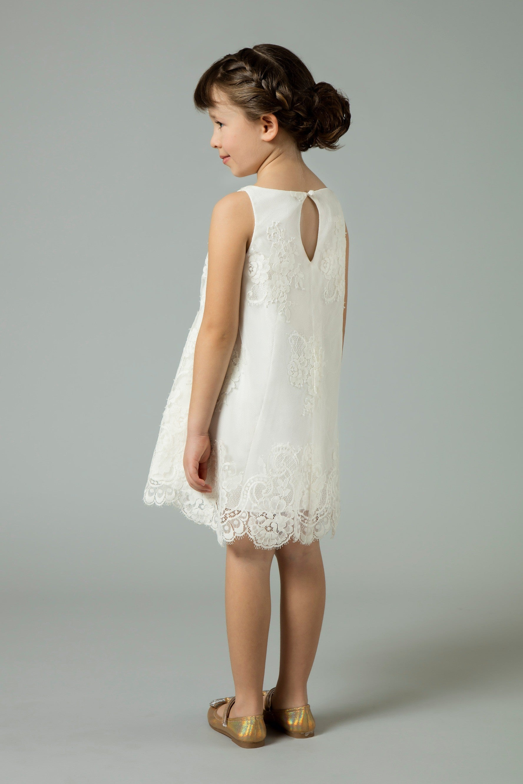 Sleeveless All Over Lace Dress with Scalloped Hem-RK1361