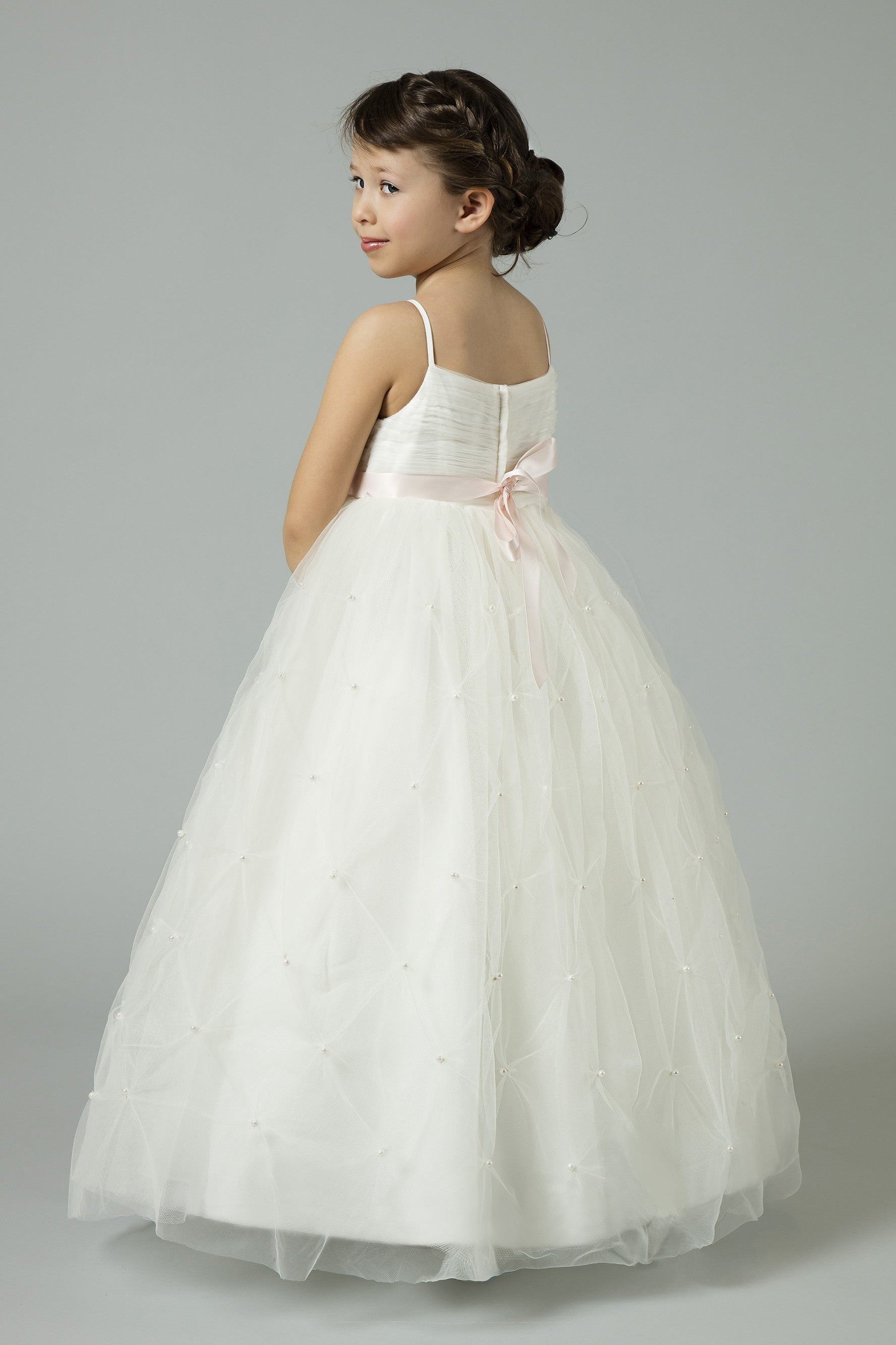 Tulle Flower Girl Dress with Pearl Pick-Ups-WG1369