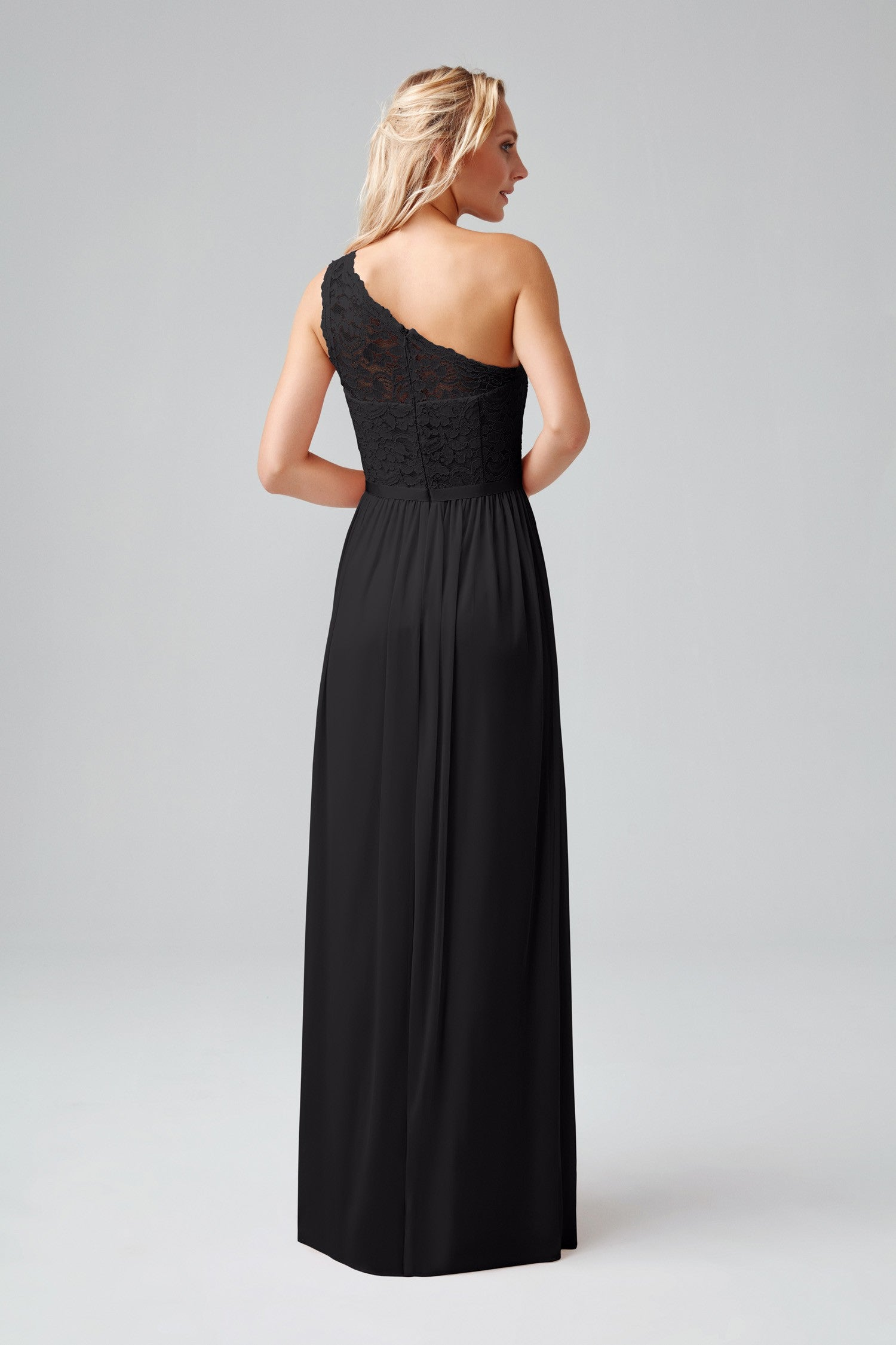 Long One Shoulder Lace Bridesmaid Dress-F17063