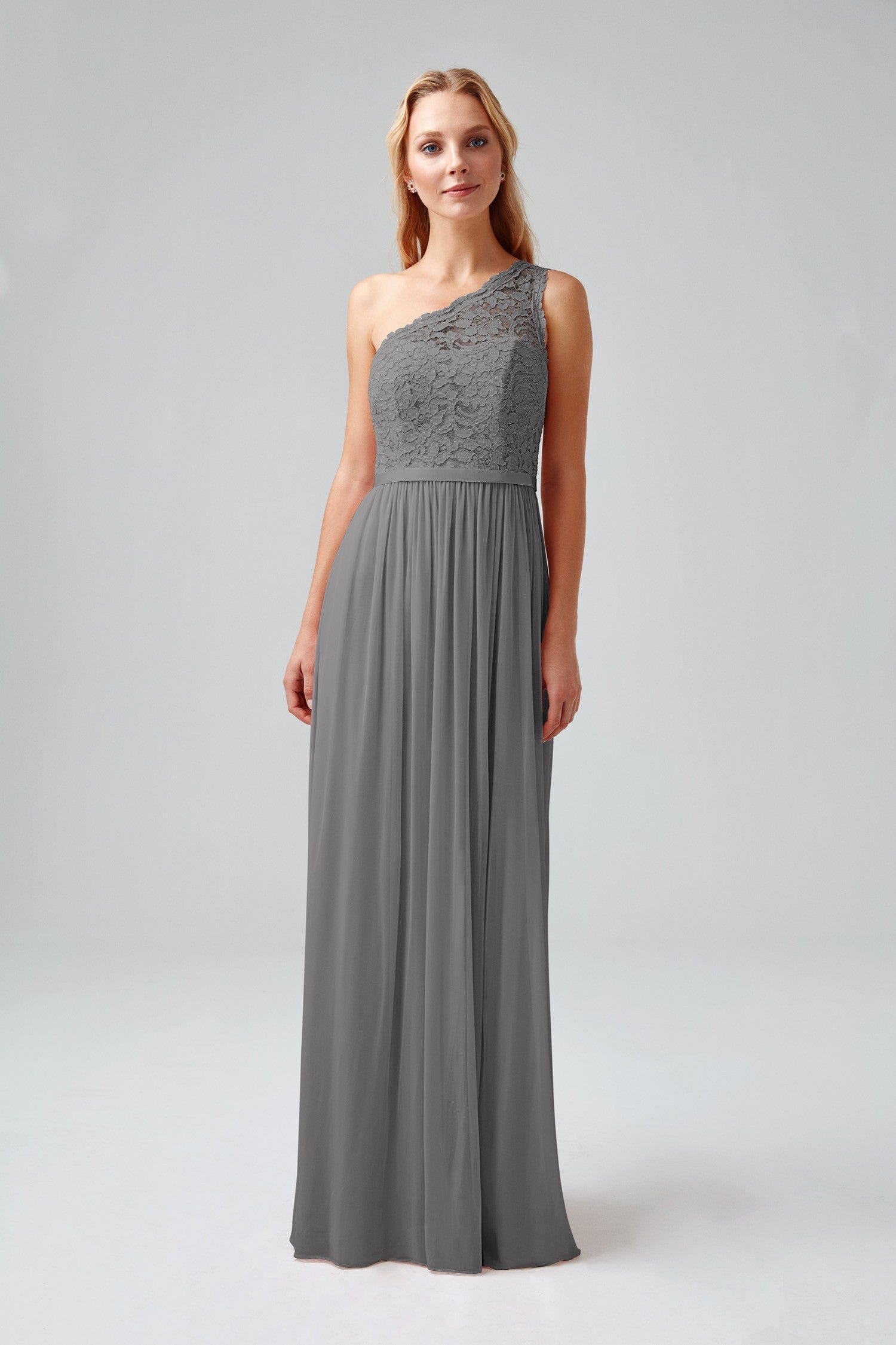 e6bbf462191 Long One Shoulder Lace Bridesmaid Dress