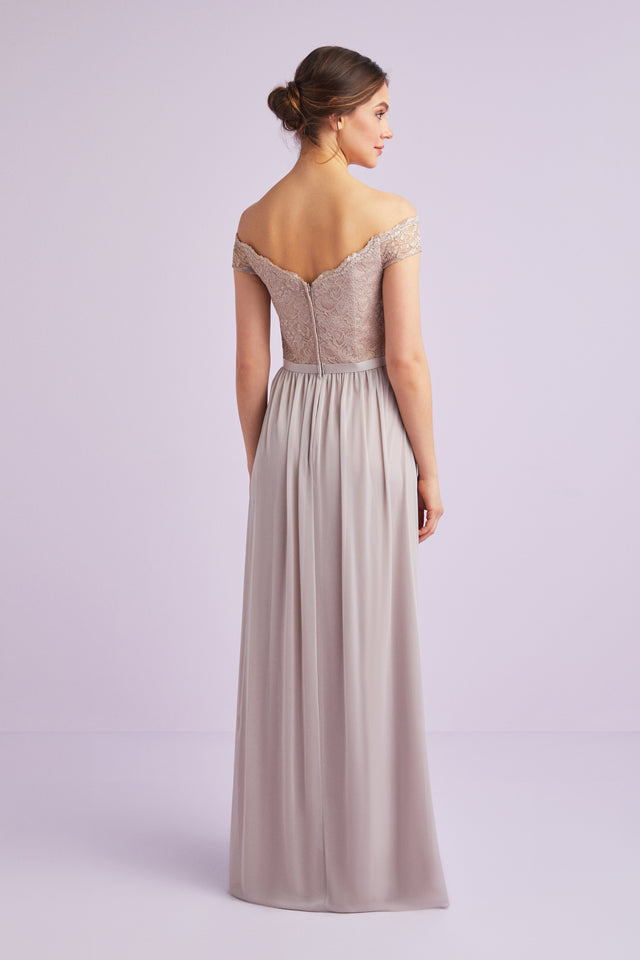 Off-the-Shoulder Metallic Lace Bridesmaid Dress