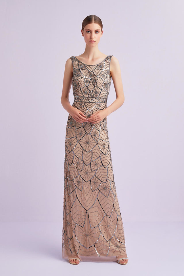 Nude Beaded Formal Gown