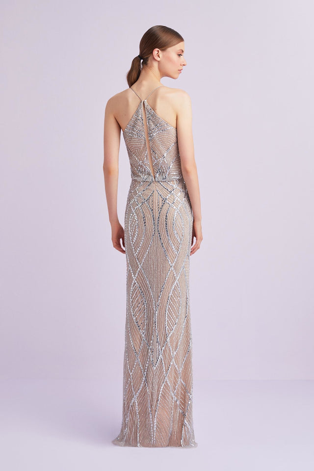 Beaded Champagne and Silver Gown