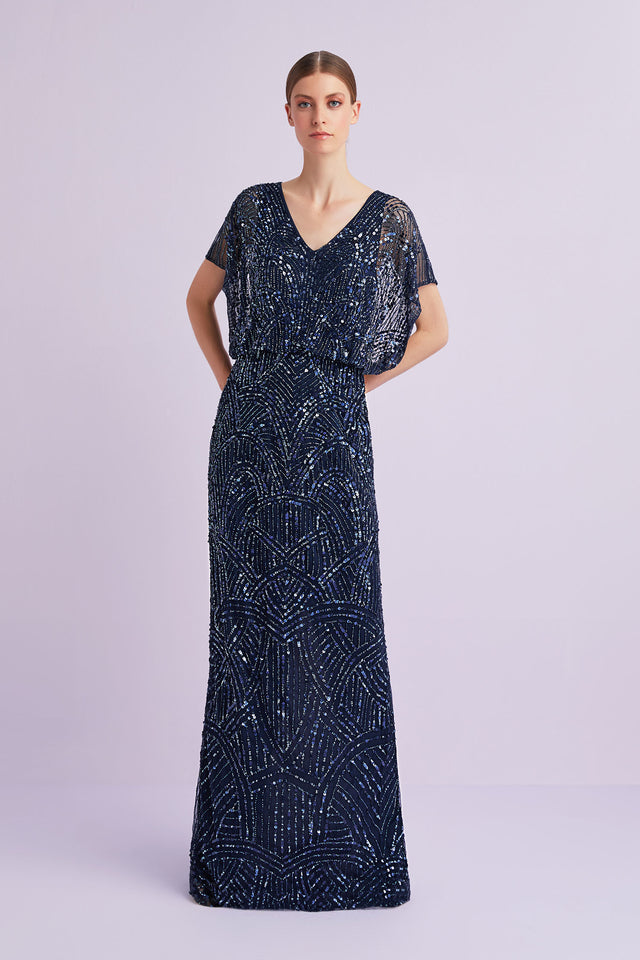 Navy Beaded Formal Gown