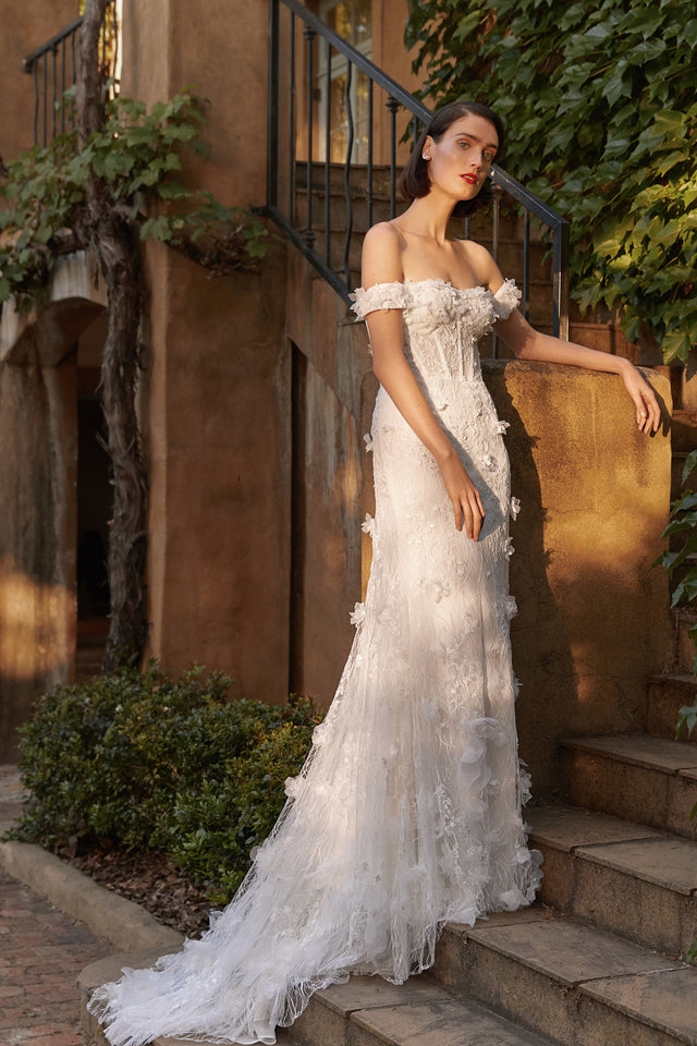 Strapless Floral Applique Gown with Removable Sleeves