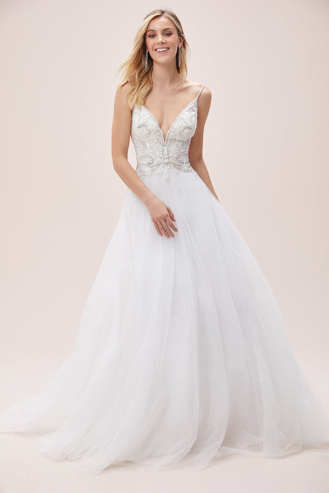 Beaded Crystal Bodice Gown