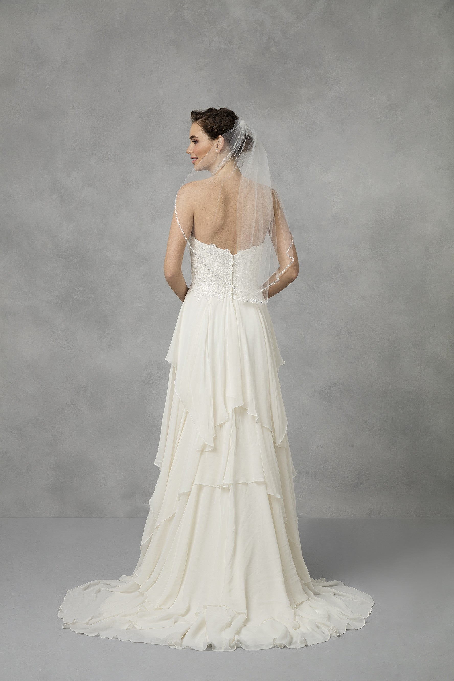 Bridal Elbow Length Veil; 1 Tier with Beaded Edge-VMP9573