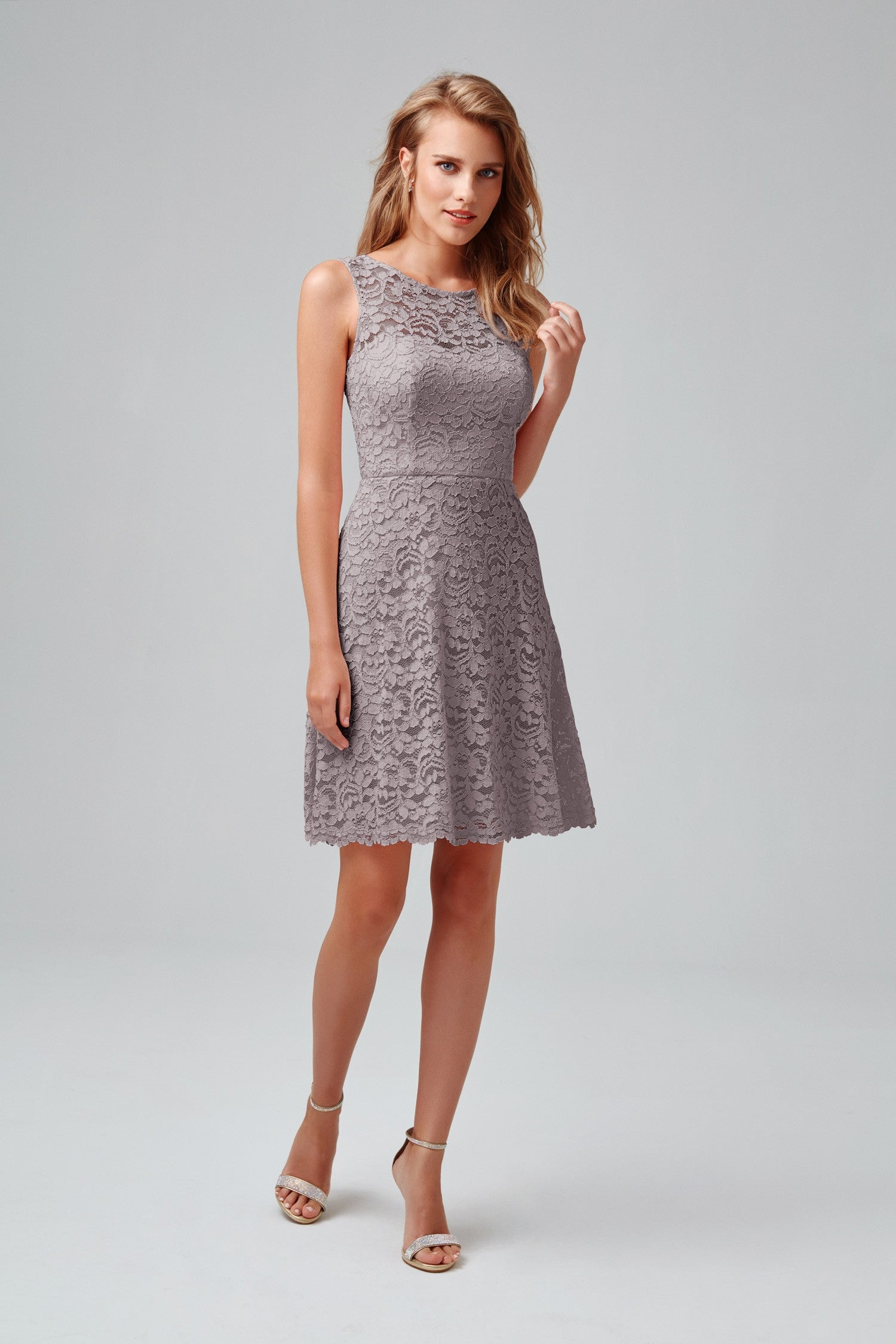 Short Sleeveless All Over Lace Bridesmaid Dress-F18031
