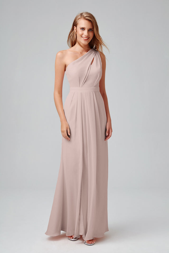 Long One Shoulder Chiffon Dress