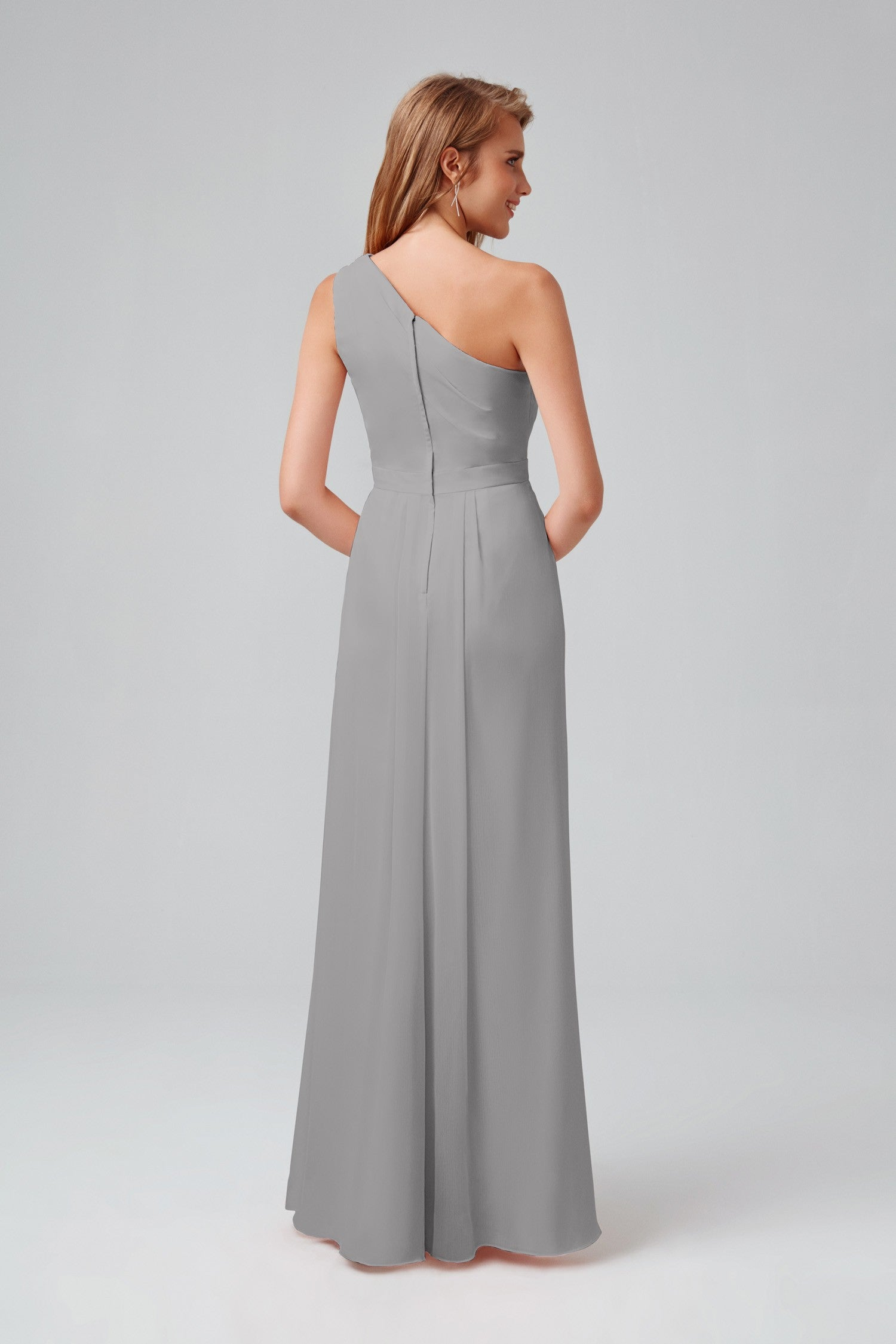 Long One Shoulder Chiffon Dress-F18055