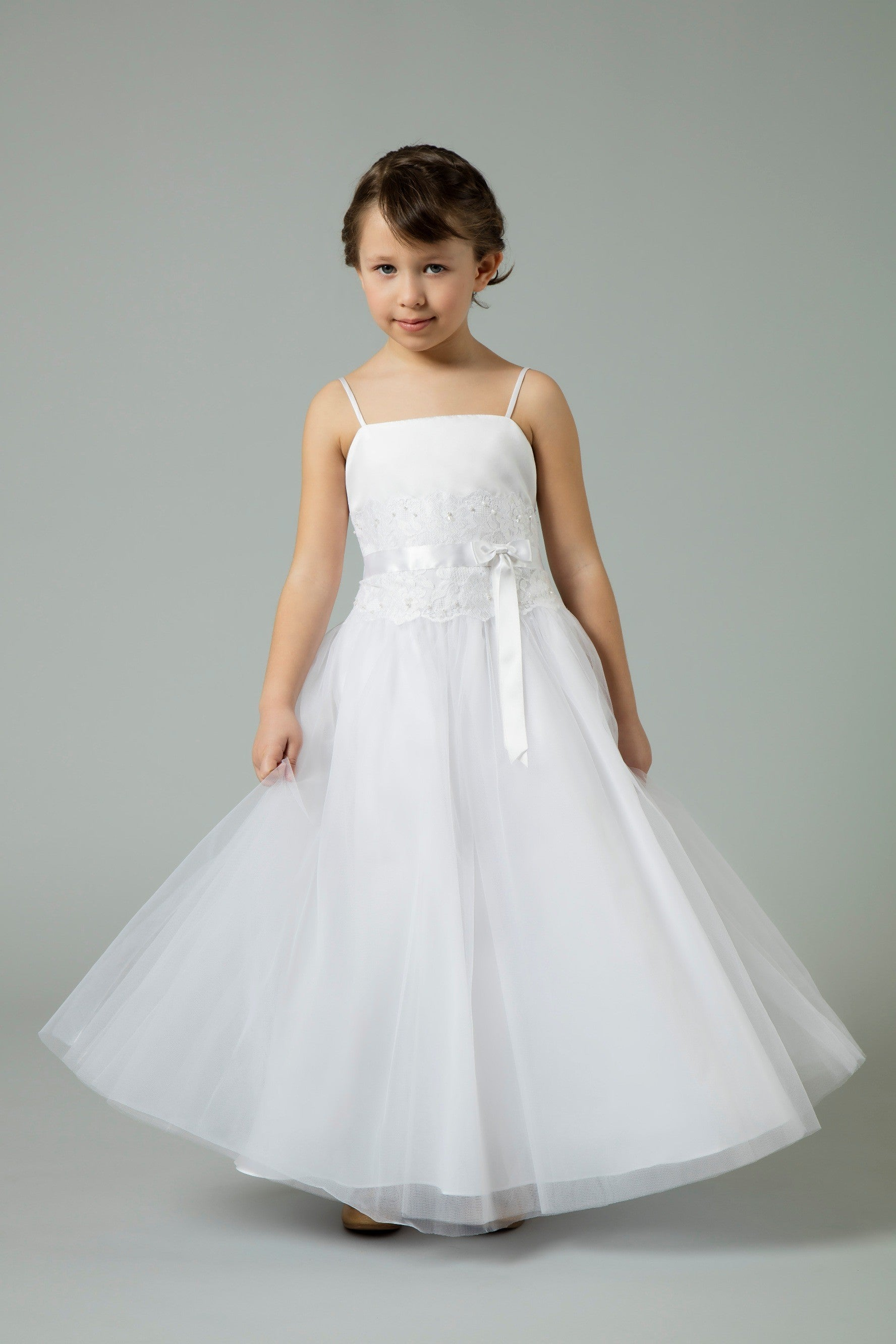 Flower Girl Lace and Tulle Spaghetti Strap Dress-H1173