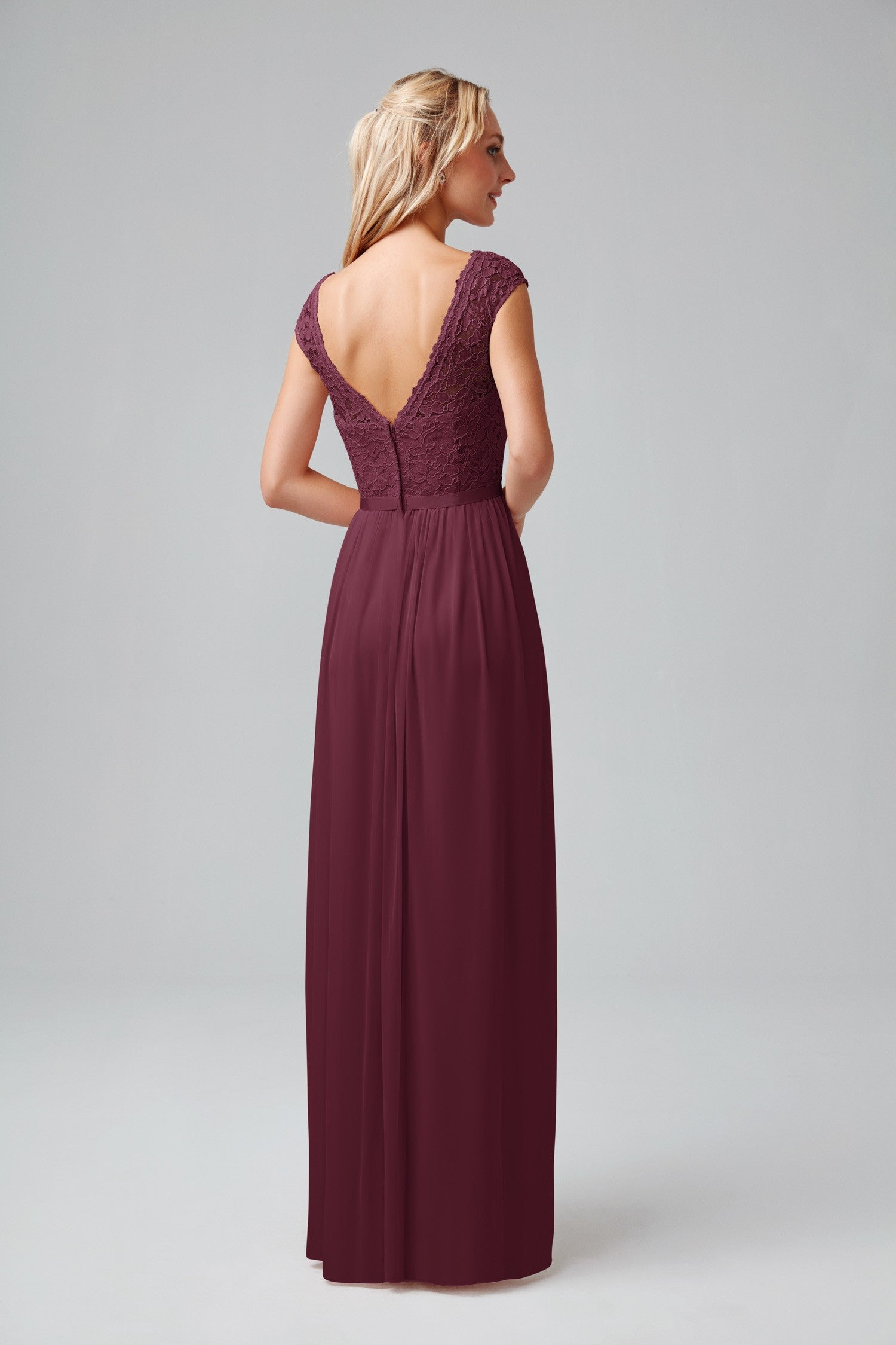 Long Bridesmaid Dress with Lace Bodice Style F19328  a17737d6d374