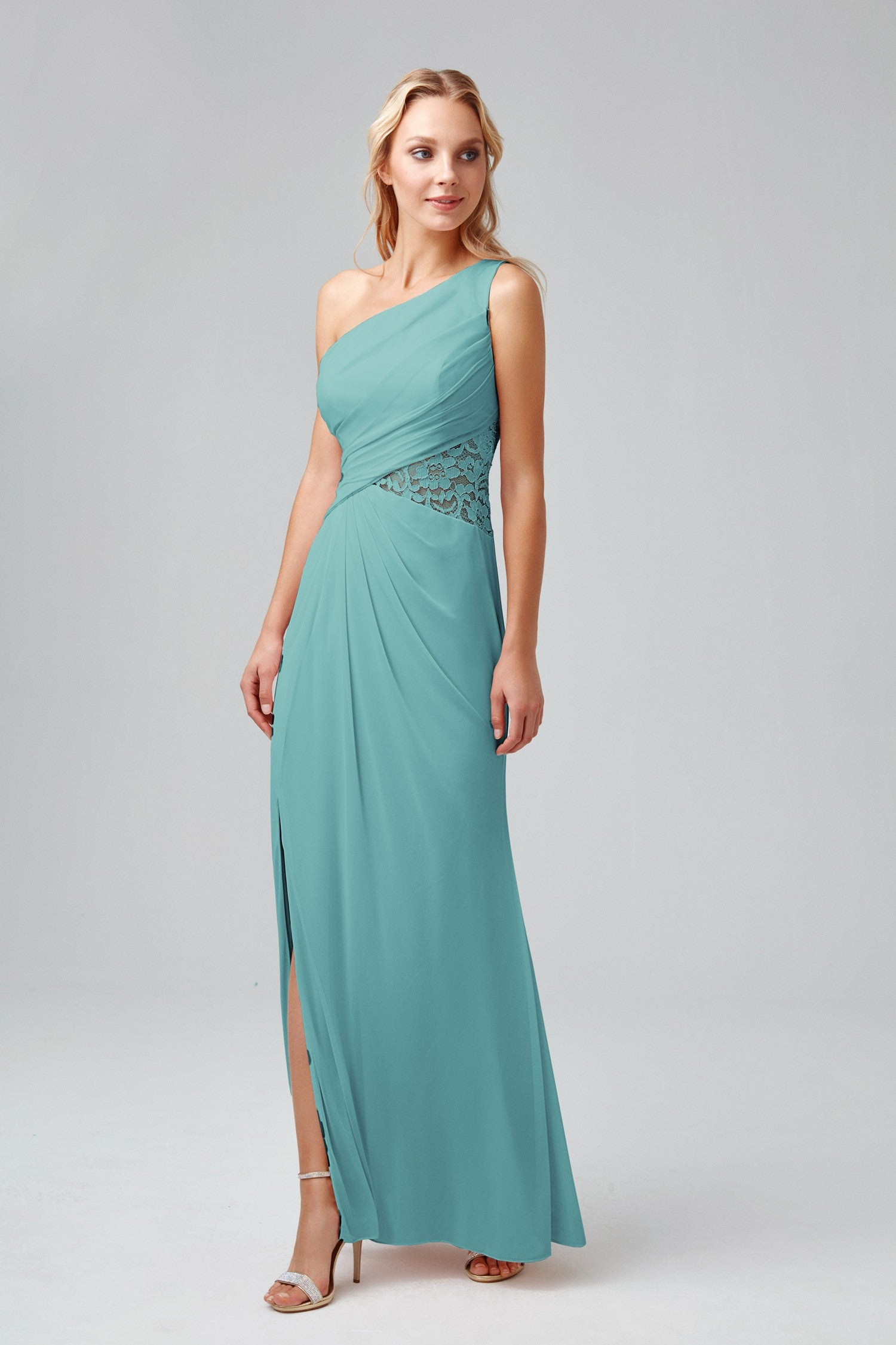 One-Shoulder Mesh Dress with Lace Inset-F19419