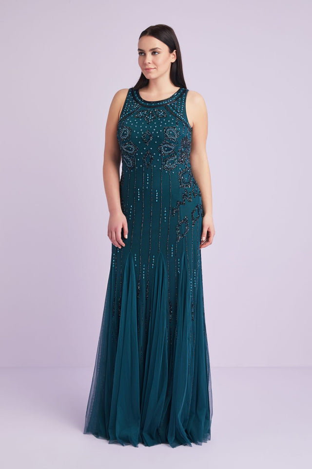 Tulle Beaded Sheath Formal Dress