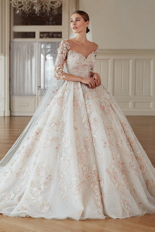 Blush Floral Applique Gown-WPD21218V3