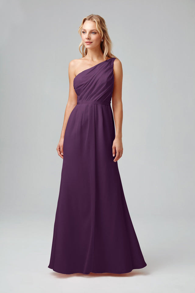 Side-Ruched One-Shoulder Bridesmaid Dress