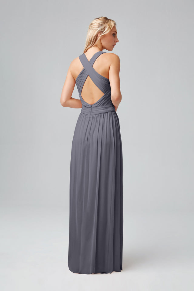 Mesh Long Bridesmaid Dress with Crisscross Back