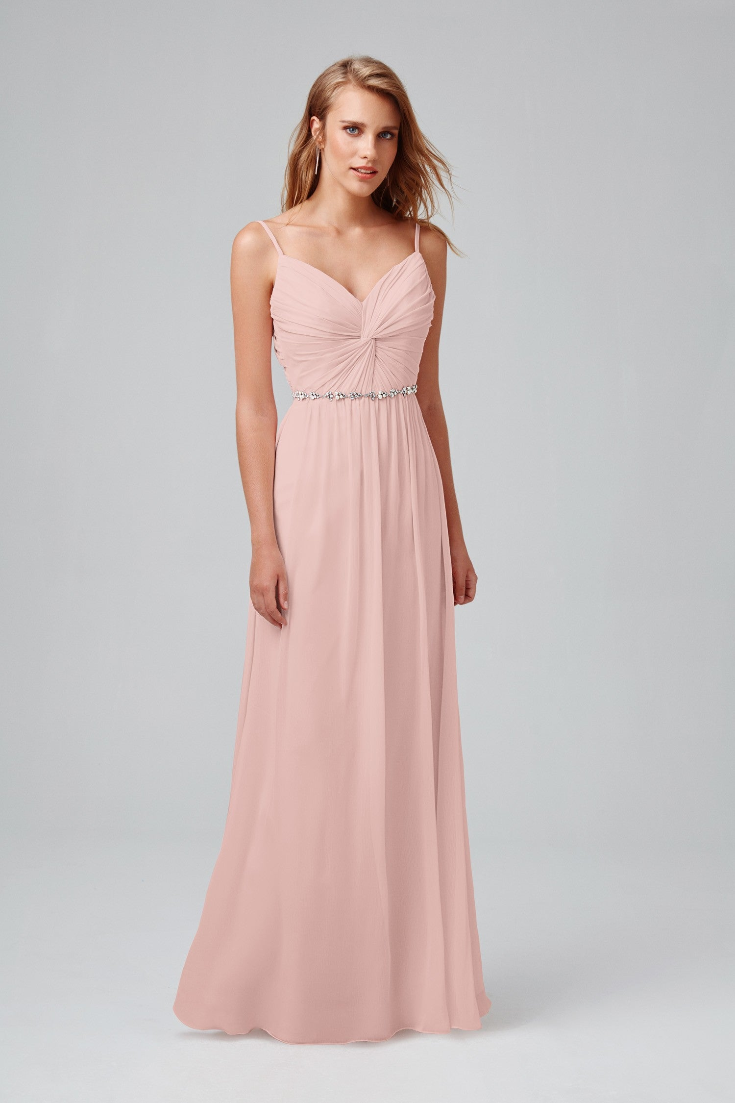 Twist Bodice Chiffon Dress with Beaded Belt-W11147