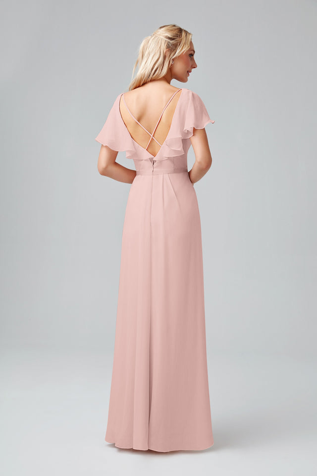 Flutter Sleeve Crinkle Chiffon Bridesmaid Dress