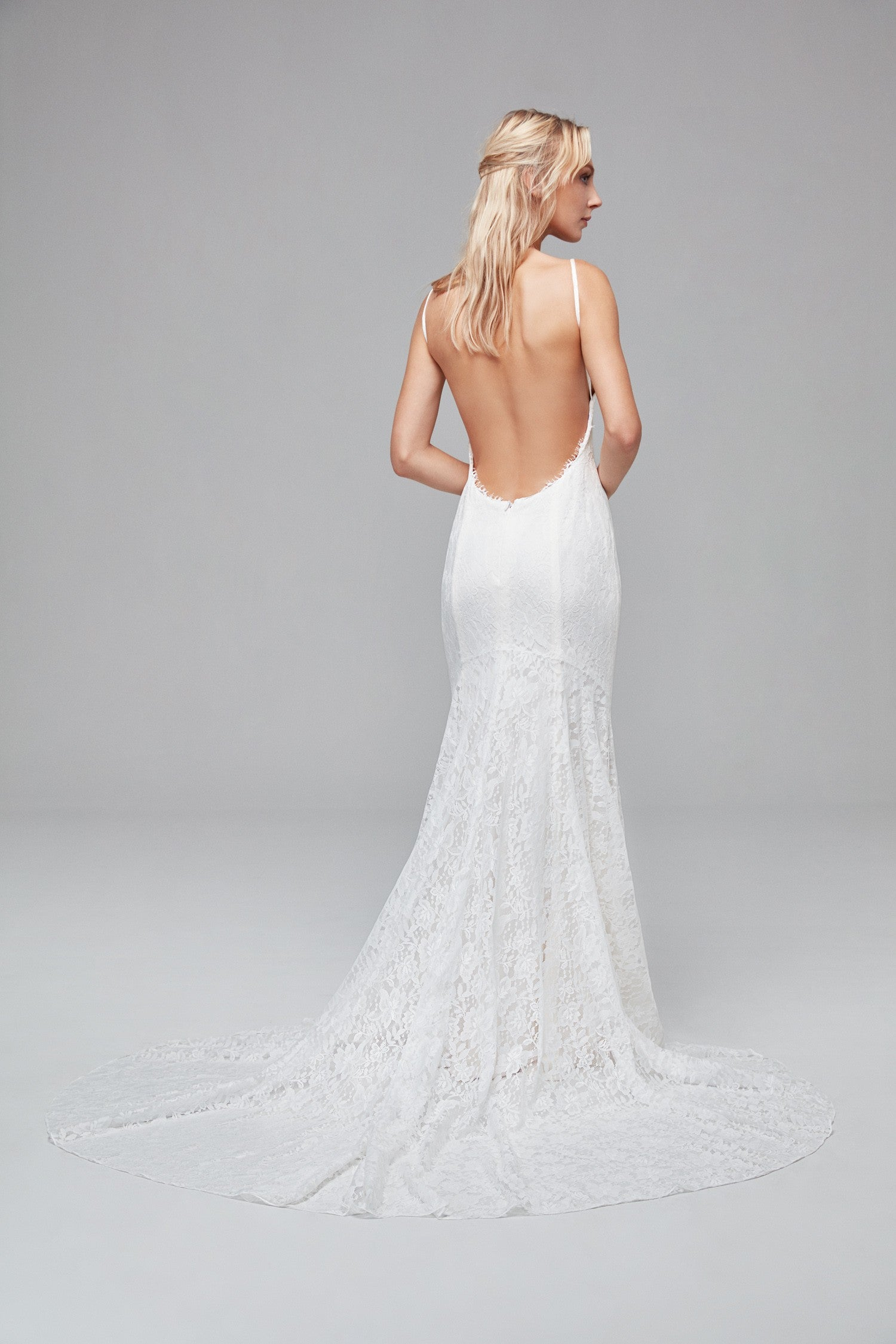 Soft Lace Wedding Dress with Low Back-WG3827