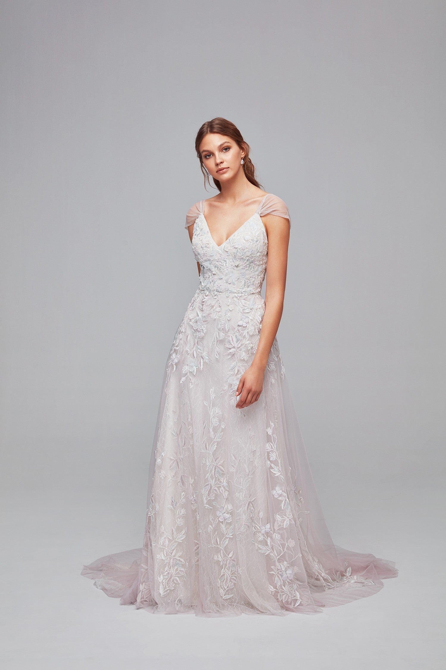 Butterfly Appliqued Tulle A-Line Wedding Dress-MS251187