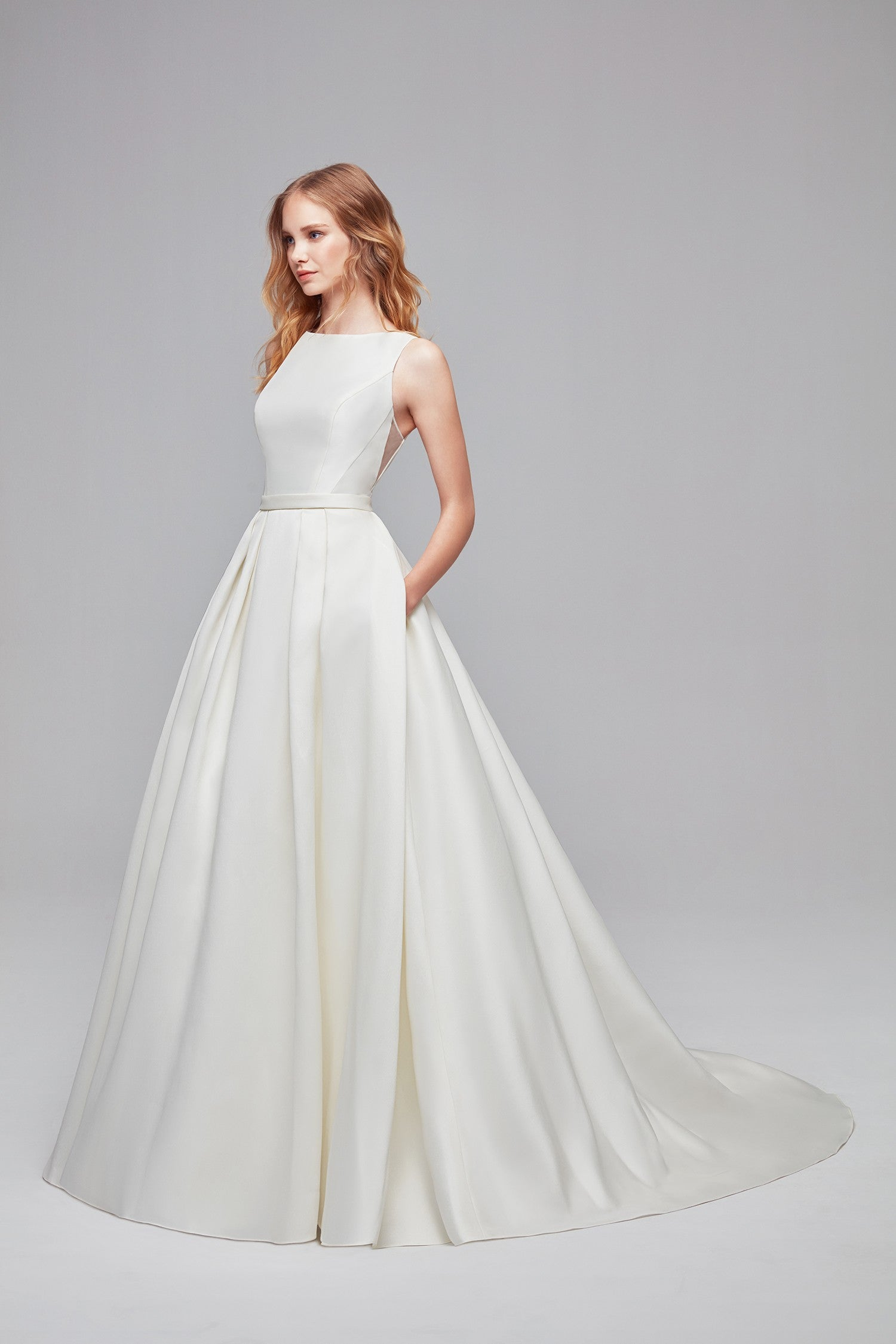 High-Neck Mikado Ball Gown Wedding Dress-WG3879
