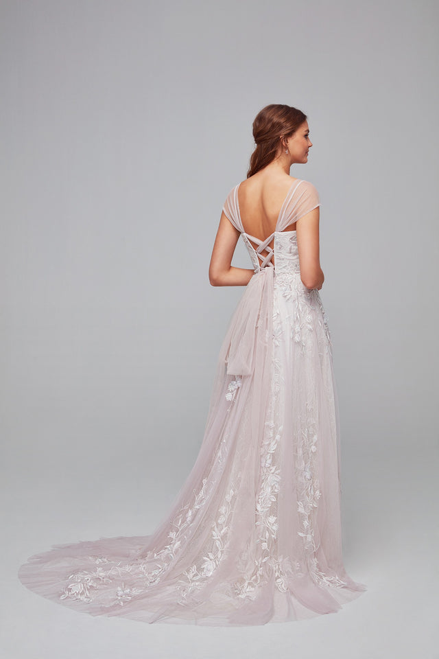 Butterfly Appliqued Tulle A-Line Wedding Dress