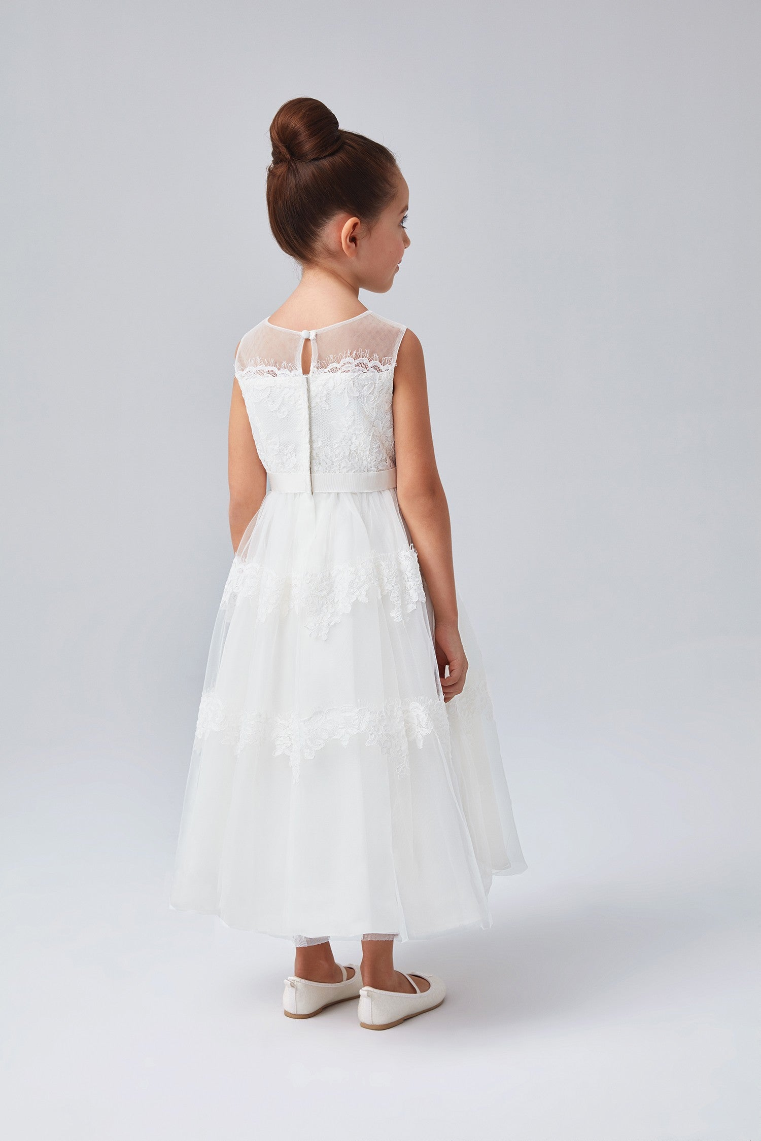Banded Lace Illusion Flower Girl Dress-WG1374