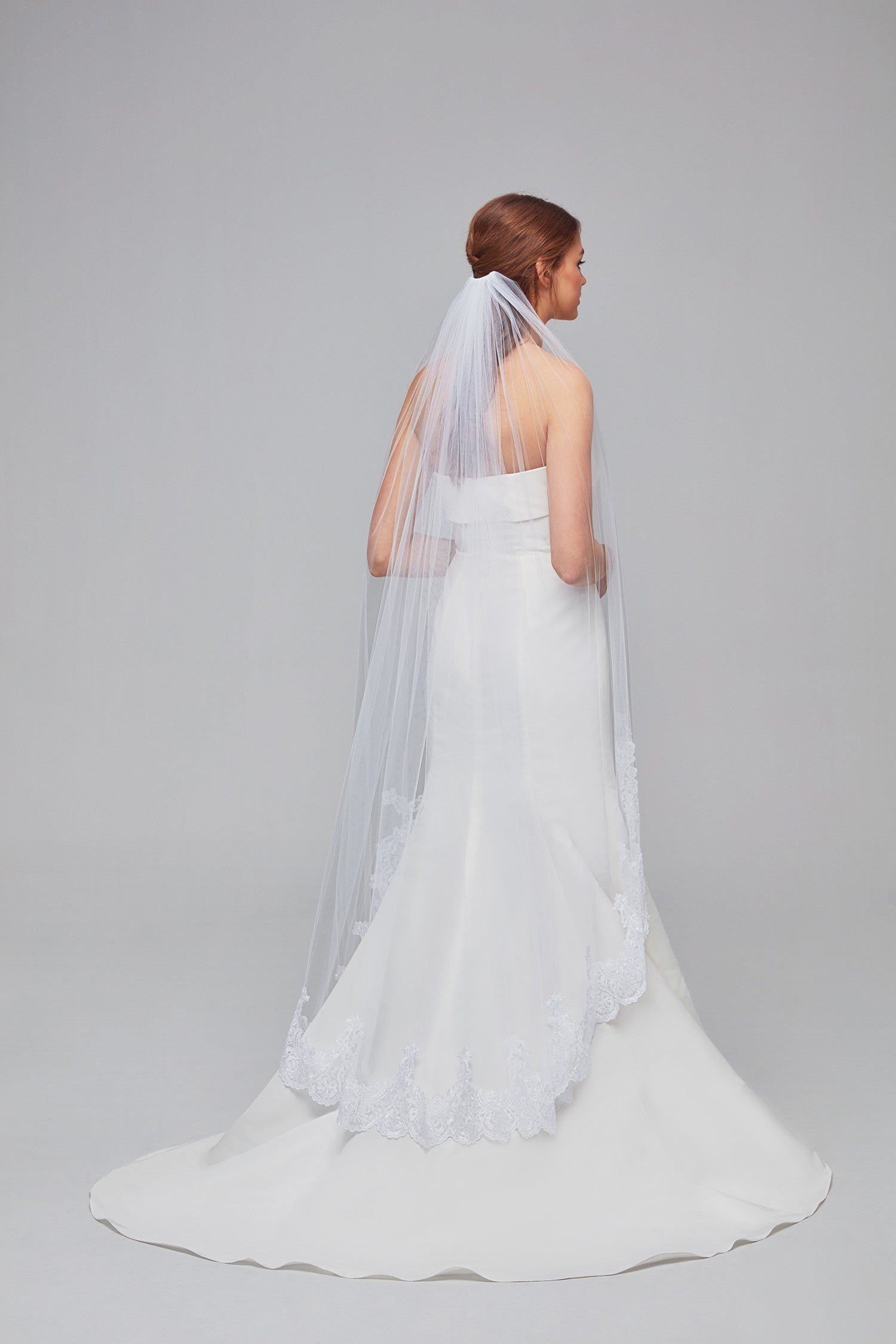 Embellished Lace Walking Veil-OCV780