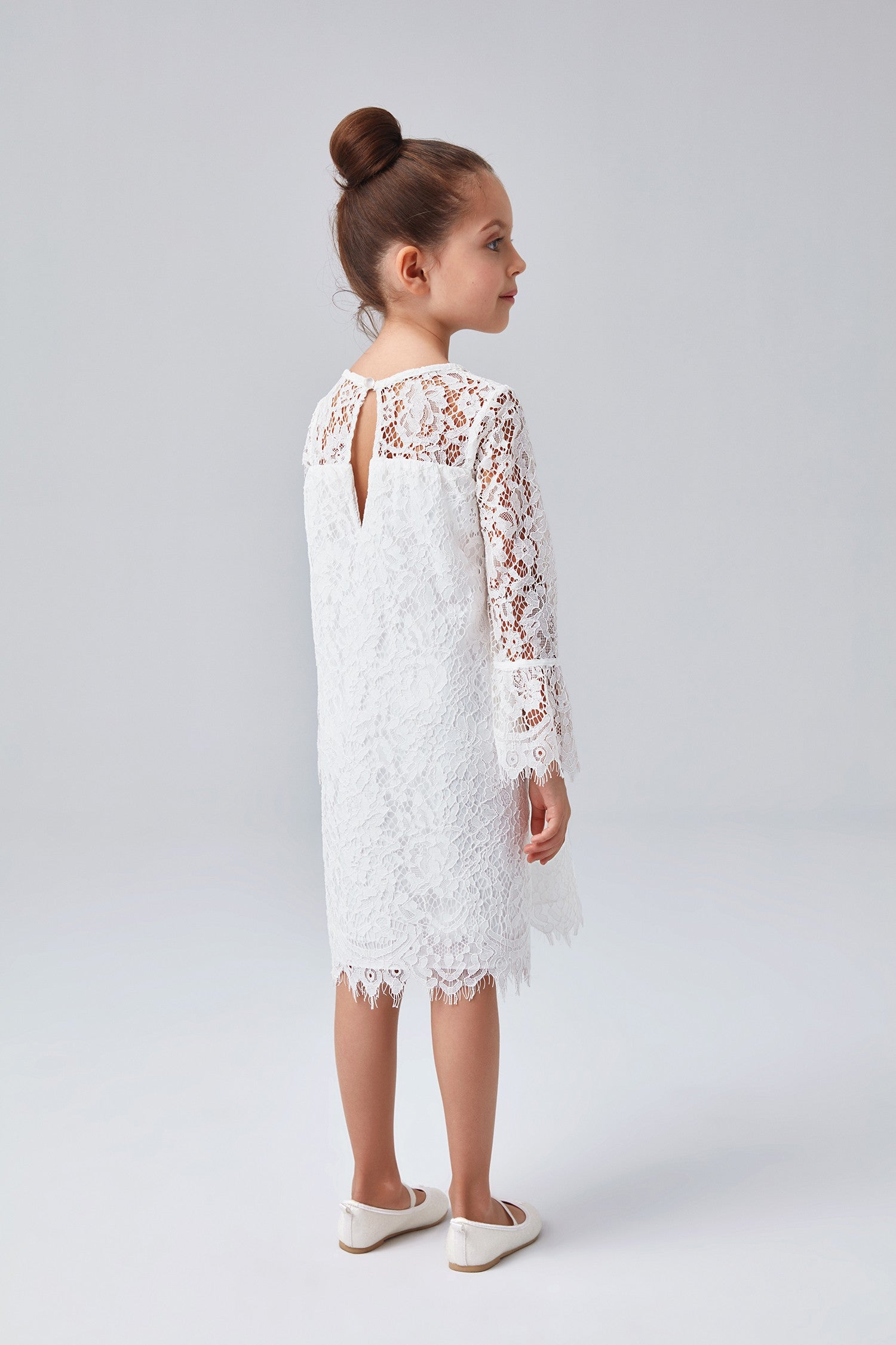 b1b5df8864 Short Lace Flower Girl Dress with Illusion Sleeves-OP239