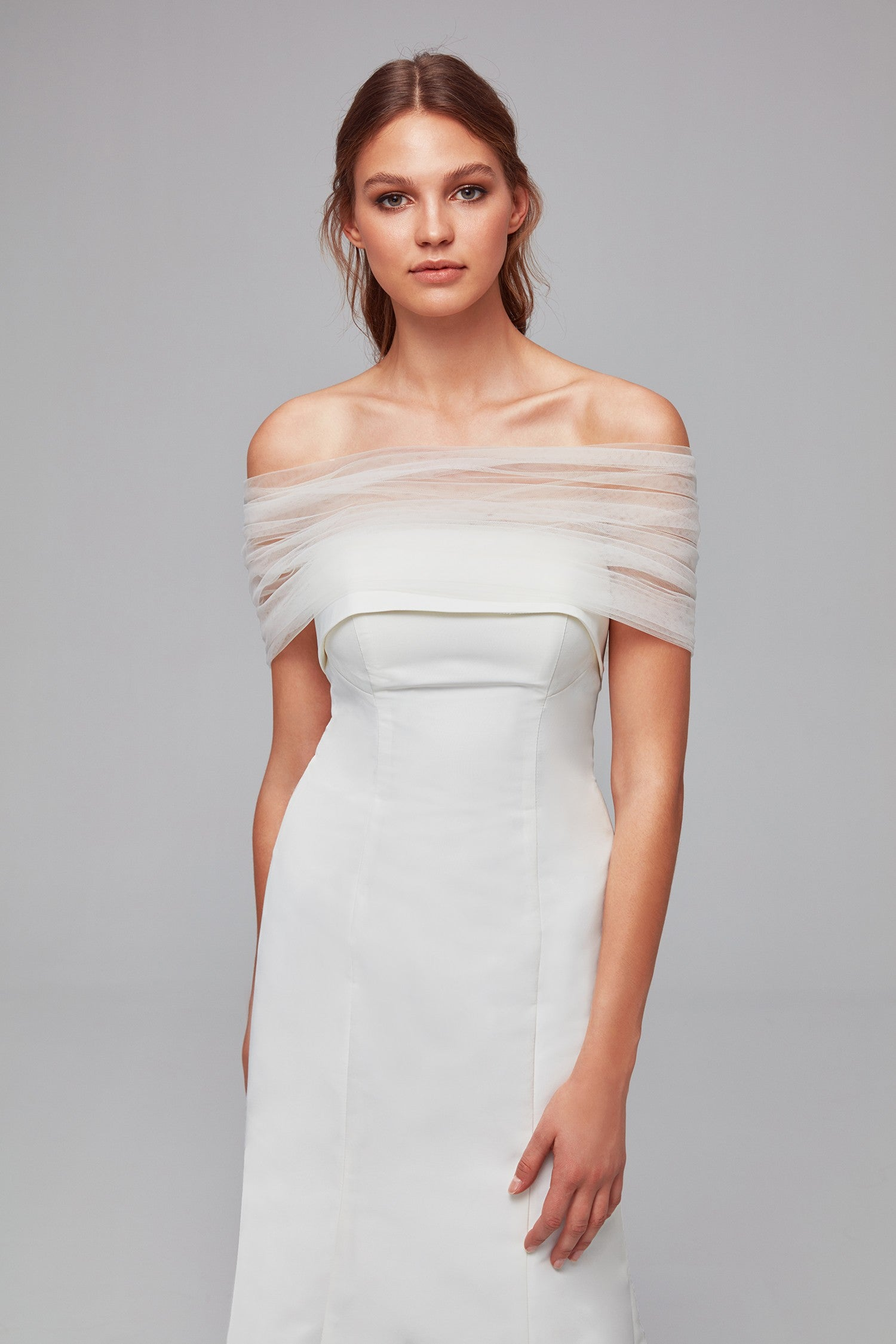 Pleated Tulle Off-the-Shoulder Wrap-OW2102