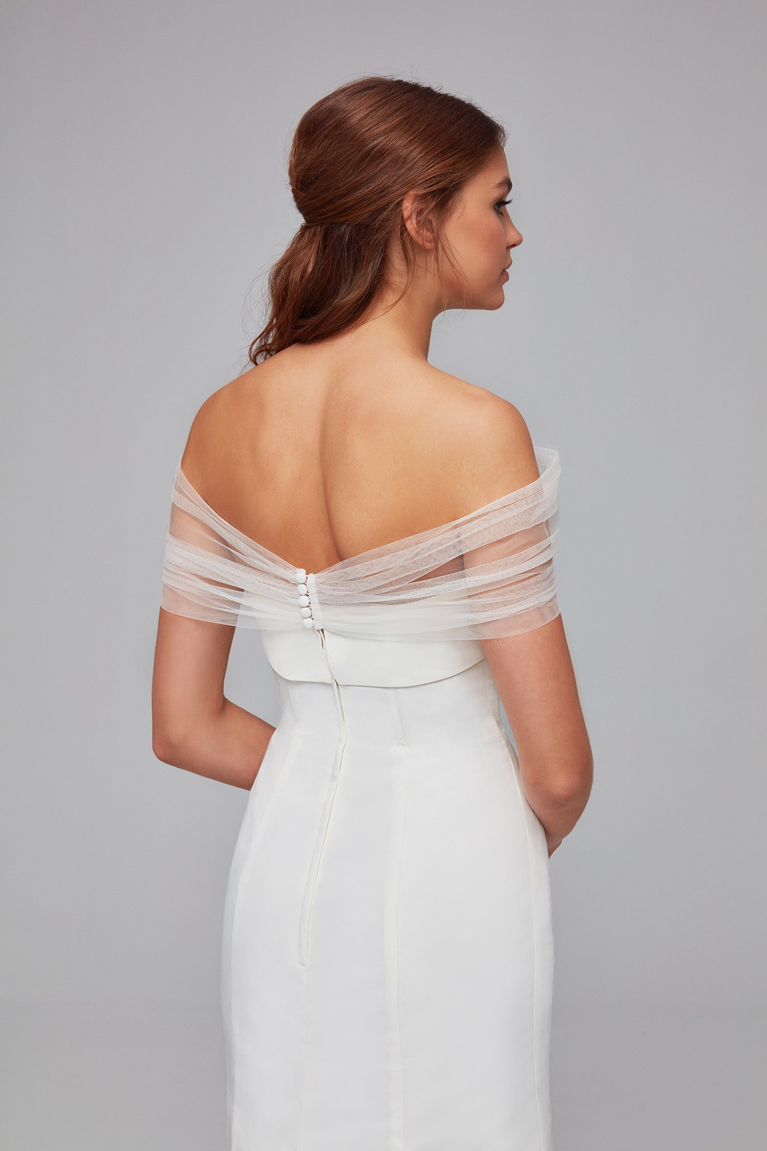 Pleated Tulle Off The Shoulder Wrap Ow2102
