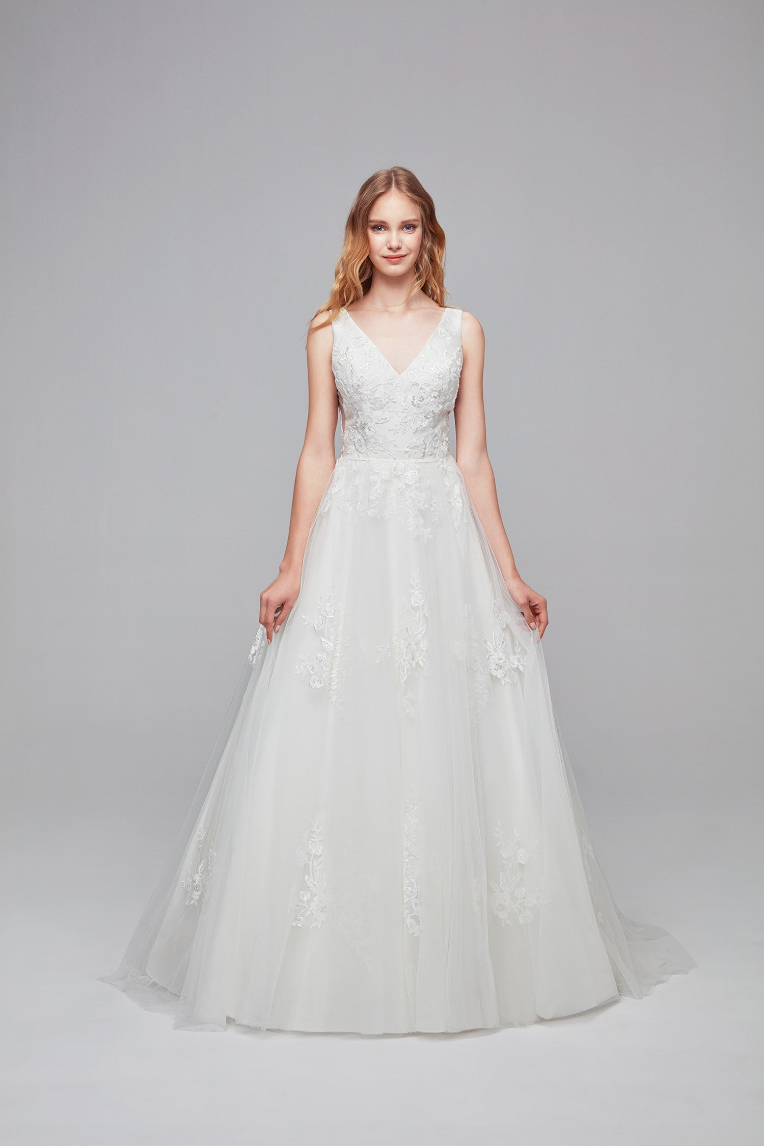 Mikado and Tulle V-Neck Ball Gown Wedding Dress-WG3877