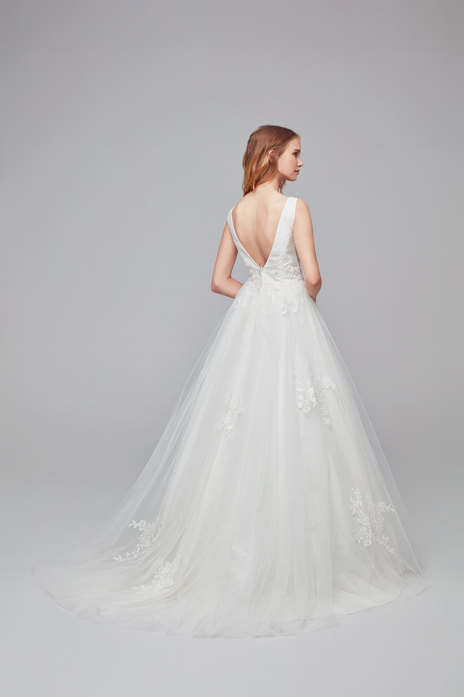 Mikado And Tulle V Neck Ball Gown Wedding Dress Wg3877