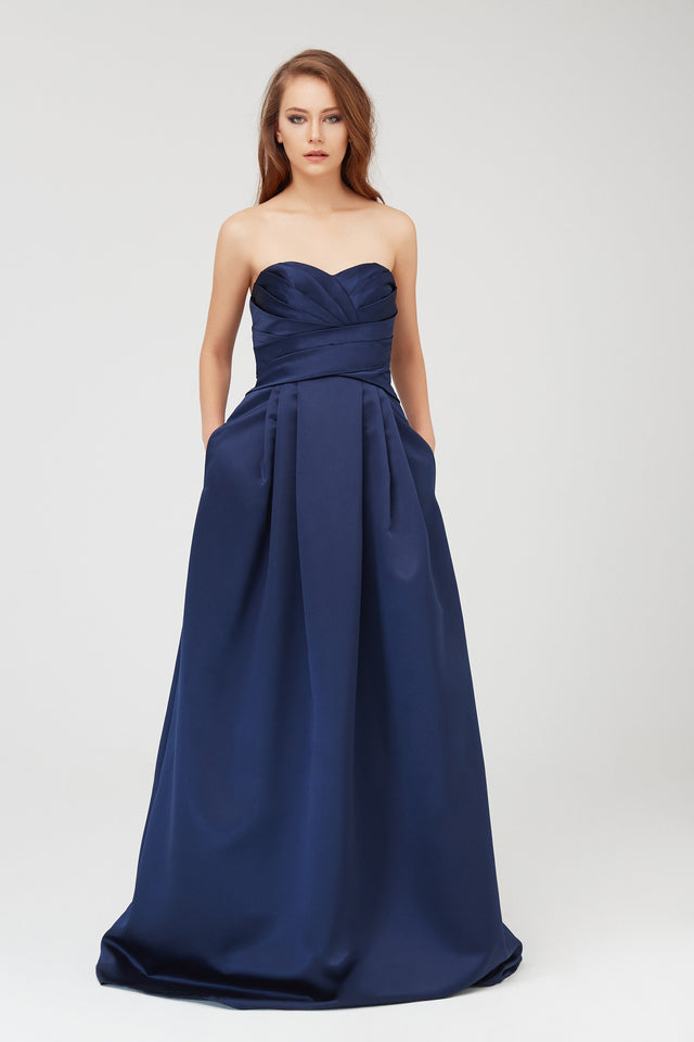 Extra Length Satin Pleated Bodice Ball Gown