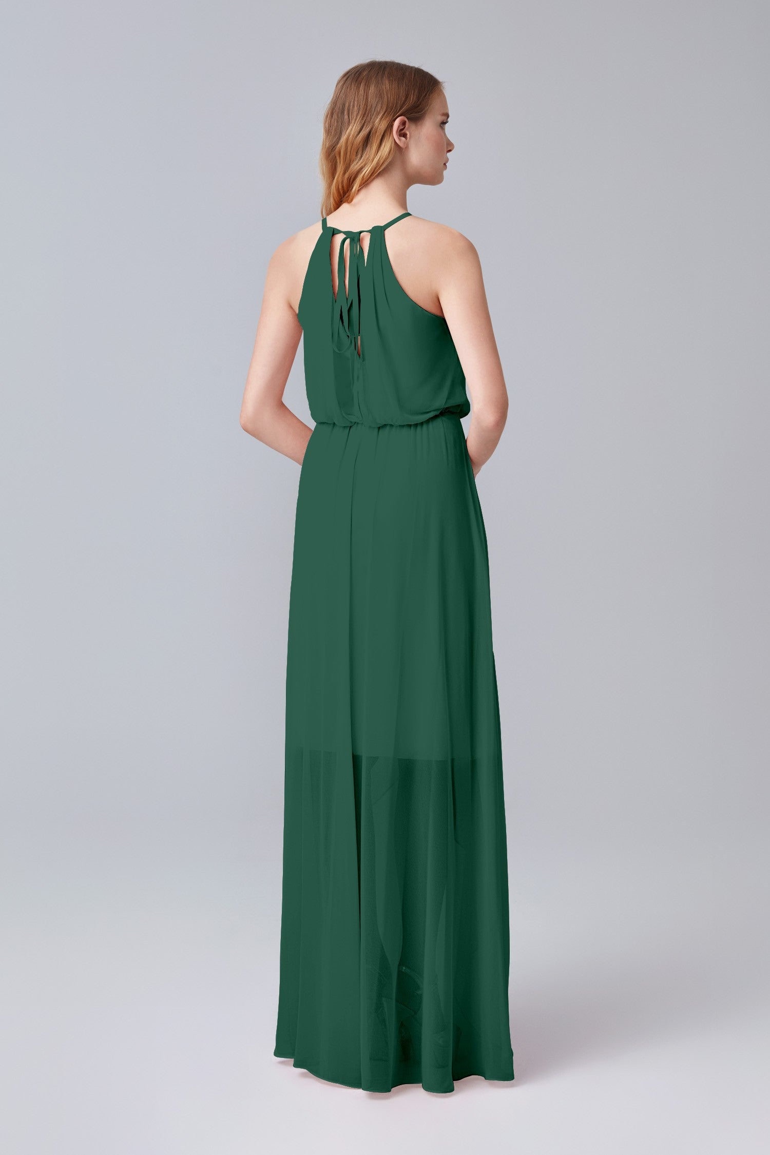 High-Low Chiffon Halter Bridesmaid Dress-F19740