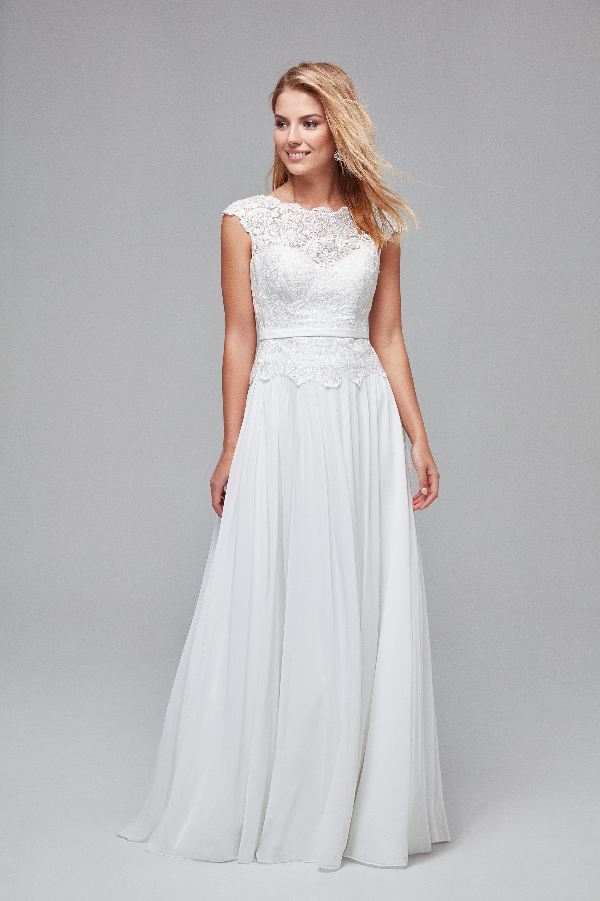 Illusion Lace And Chiffon A Line Wedding Dress Wg3851
