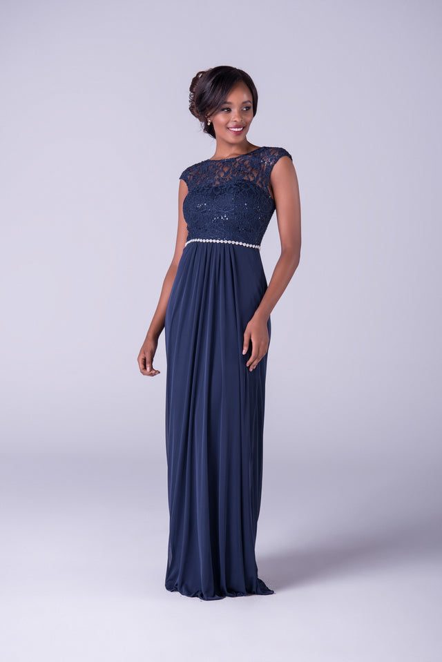 Glamorous Sheath Gown with Drapping and Lace Capsleeves