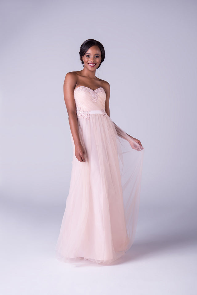 A-line tulle gown with lace detailing